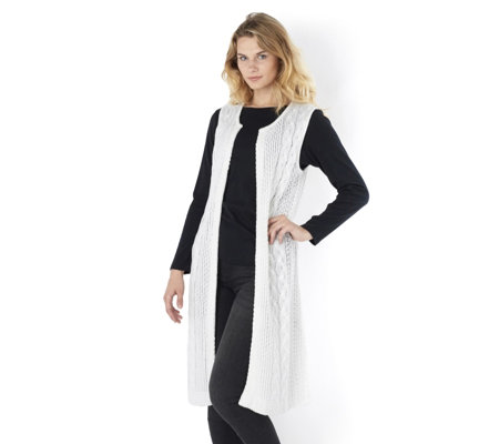 Absolutely Famous Cable Mixed Stitch Long Sleeveless Cardigan with Side Split