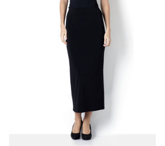 Kim & Co Stretch Crepe Long Skirt with Back Split - 105576