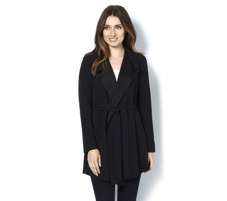 Stretch Crepe Belted Jacket by Nina Leonard
