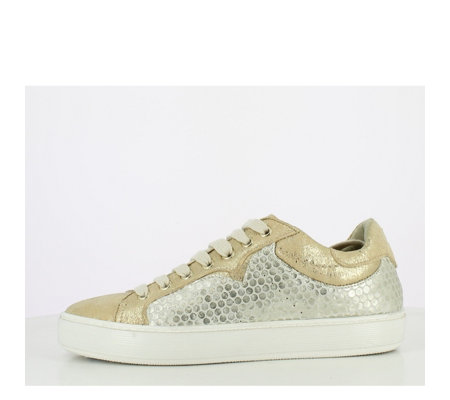 Manas Rodi Metallic Lace Up Leather Trainer
