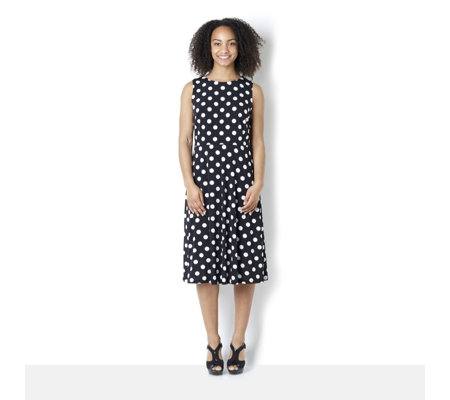 """As Is"" Ronni Nicole 'Sleeveless Jersey Spot Midi Dress with Flared Skirt"