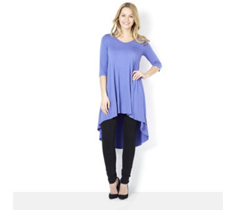 Join Clothes V Neck Tunic with Front Seam Detail & Dip Back Hem - 159577