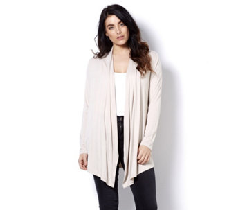 Logo by Lori Goldstein Draped Front Cardigan with Pleats - 163477