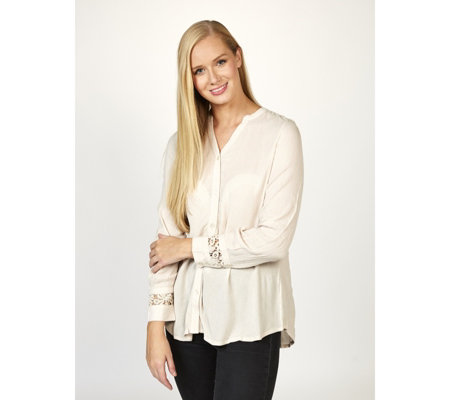 Fashion by Together Lace Detail  Crinkle Shirt