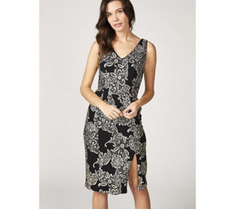 Ronni Nicole Sleeveless Jacquard Foil Print Dress - 167977