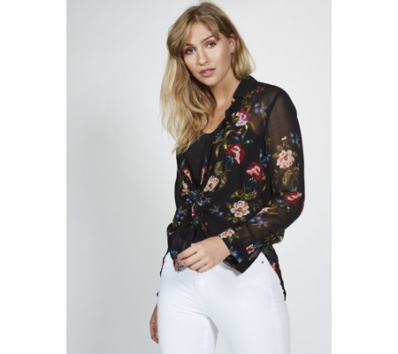 Derhy Rose Print Button Through Blouse
