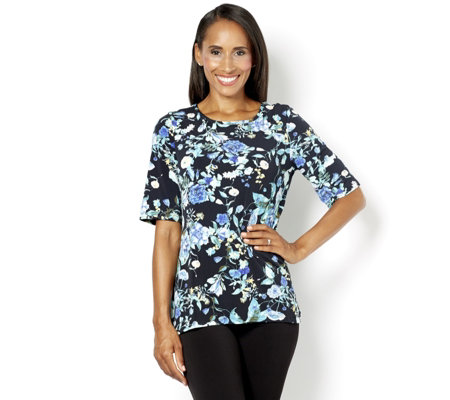 Kim & Co Floral Vines Print Brazil Knit Short Sleeve Top