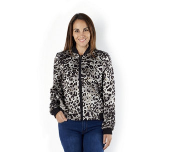 Helene Berman Animal Print Bomber Jacket - 162678