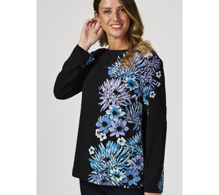 Bob Mackie Long Sleeve Floral Printed Top