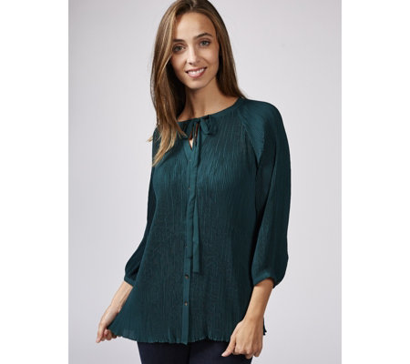 Together Neck Tie Pleated Blouse