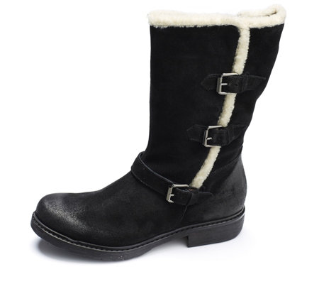 Manas Suede Mid Calf Boot with Fur Trim