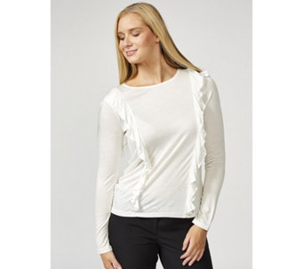 Betty & Co Long Sleeve Double Frill Front Detail Top - 169679