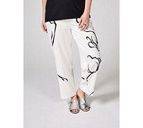 MarlaWynne Crepe Graphic Print Crop Trousers - 170779