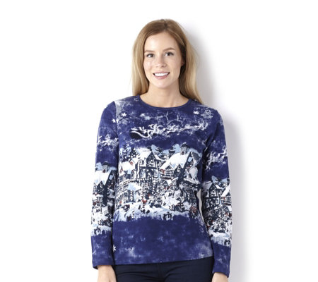 Artscapes Christmas Village Long Sleeve Round Neck Top