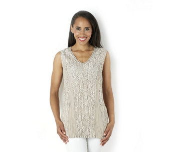 Together Sleeveless Lace Top with Crochet Detail - 159280