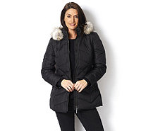 Centigrade Chevron Panel Down & Feather Coat with Faux Fur Detachable Hood - 160780
