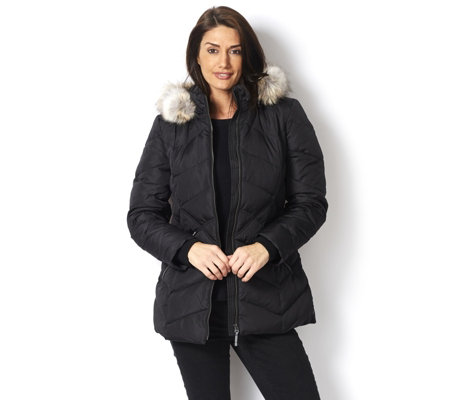 Centigrade Chevron Panel Down & Feather Coat with Faux Fur Detachable Hood