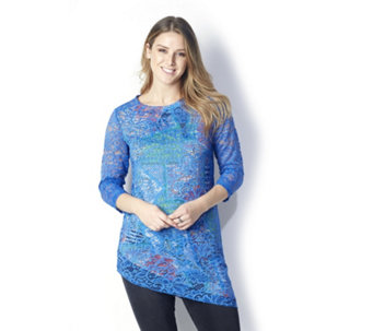 Attitudes By Renee Printed Lace Overlay Tunic w/ Asymmetric Hem - 163180