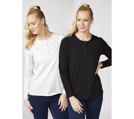 Denim & Co. Set of 2 Long Sleeve Stretch Tops