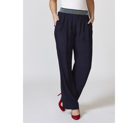L'Officina della Moda Trousers with Decorative Elastic Waist