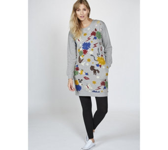Derhy Applique Sweater Tunic Dress - 168480