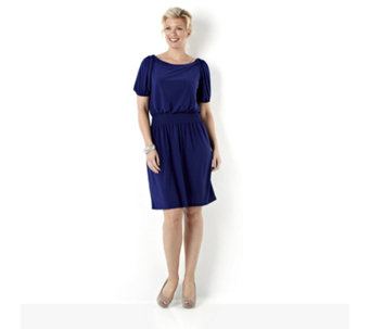 Tiana B Elbow Length Jersey Dress with Smocked Waist - 108781