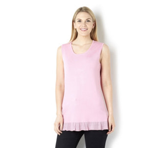 Sleeveless Knitted Camisole with Lurex Hem by Michele Hope - 159281