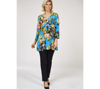 Attitudes By Renee V Neck Printed Tunic with Pockets - 163181