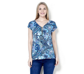 Coco Bianco Zip Front Printed Top with Dip Back Hem - 163481