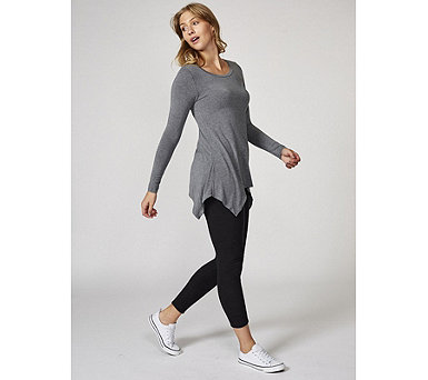 Cuddl Duds Softwear Long Sleeve Hanky Hem Tunic - 166881