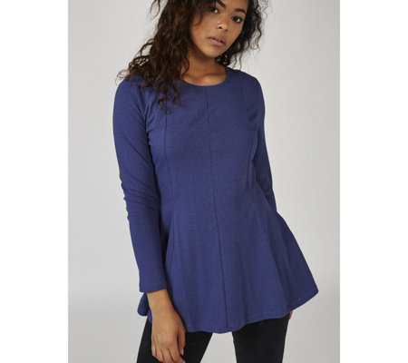 Denim & Co. Long Sleeve Round Neck Fit & Flare Tunic