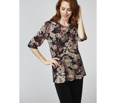 Kim & Co Enchanted Paisley Soft Touch Peplum Top Relaxed Sleeves