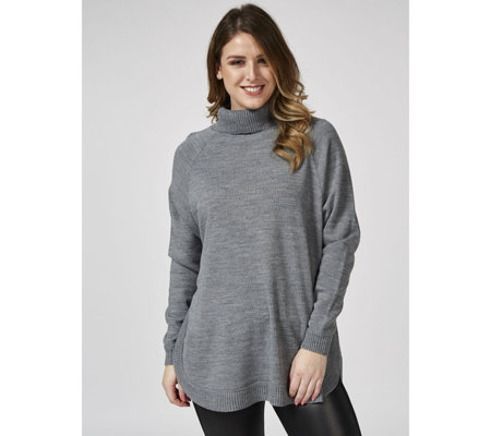 Roll Neck Long Raglan Sleeve Jumper with Curved Hem by Nina Leonard