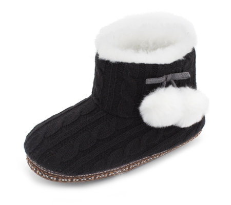 Cuddl Duds Faux Fur Lined Ankle Bootie Slippers - QVC UK