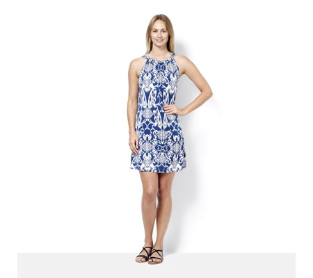 Coco Bianco Printed Halter Neck Sleeveless Dress