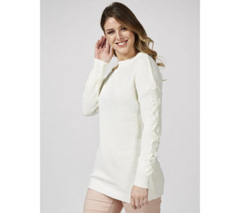Knitted Tunic w/ Dropped Shoulder & Laced Chiffon Sleeve Detail by Nina Leonard - 170582