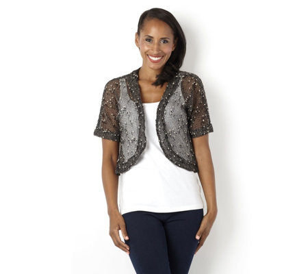 Short Sleeve Crochet Bolero by Nina Leonard