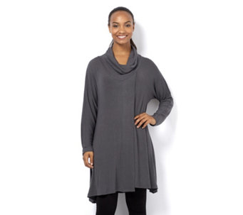 Join Clothes Long Sleeve Lightweight Knit Cowl Neck Tunic - 157083