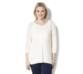H by Halston 3/4 Sleeve Jumper with Placed Stitch Detail - 162283