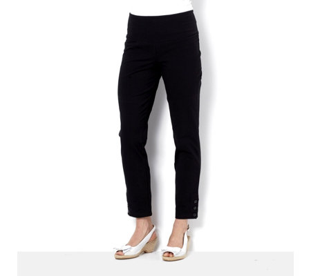 Women with Control Tummy Control Slim Leg Ankle Trousers w/ Buttons