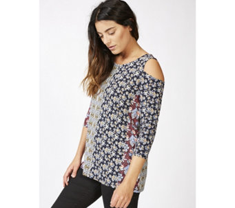 Together Cold Shoulder Printed Top - 165683
