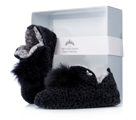 Pretty You London Voodoo Fluffy Bootie Slippers in Gift Box