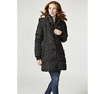 Centigrade Quilted Coat with Panel Detail & Solid Fooler - 167283