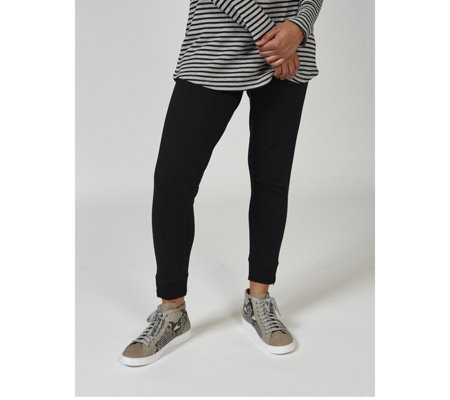 Denim & Co. Jogger Pants with Rib Trim Zip Cuff Detail Regular