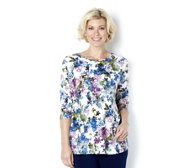 Kim & Co Soft Floral Brazil Knit Round Neck 3/4 Sleeve Tunic