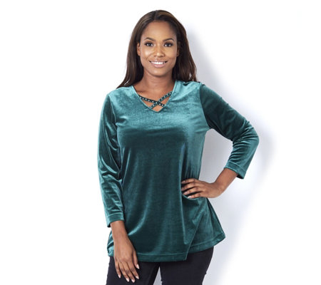 Quacker Factory Stretch Velvet Cross Detail V Neck Tunic