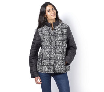 Centigrade Tweed Front Padded Jacket - 164084