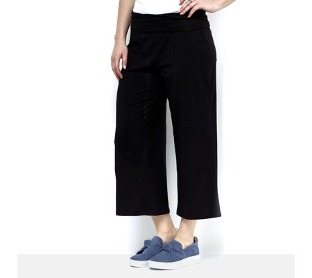 Anybody Loungewear Foldover Waistband Cozy Knit Gaucho Trousers