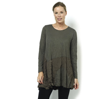 Yong Kim Crinkle Tissue Knit Tunic with Crepe De Chine Detail Hem