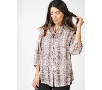 Together Neck Tie Snake Print Blouse - 165684